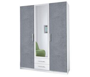 Wimex Kleiderschrank Schlafzimmer Schrank Spiegel Cliff weiß - beton lichtgrau 135cm