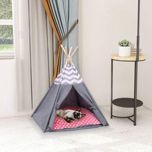 SIRUITON Katzen-Tipi-Zelt mit Tasche Pfirsichhaut Grau 60x60x70 cm