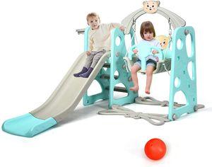 COSTWAY 4 in 1 Kinder Spielplatz, Kinder Rutsche & Schaukel & Basketballkorb & Leiter, Schaukelgerüst, Gartenschaukel, Kinderschaukel, Rutschbahn, Kinderrutsche für Outdoor und Indoor