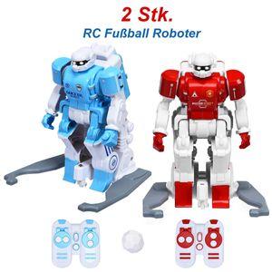 COSTWAY Fussballroboter mit Infrarot-Fernbedienung, Roboter Spielzeug fuer interaktives Fussballspiel, Spielzeugroboter Mehrspieler-Modus, Roboter-Fussball zum Dribbeln, Schiessen, Passen, Kinderspielzeug