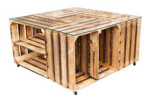 1x GEFLAMMTER COUCHTISCH mit Stauraum, 4 Kisten mit Regalböden, Glasplatte, Rollen /81x81x44cm