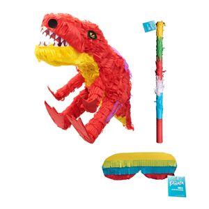 Pinata Set Dinosaurier Mit Schlag Stock und Brille Maske Zum Aufhängen und Befüllen Rot Gelb Party Deko Geburtstag Kinder 60 x 24 x 36 cm