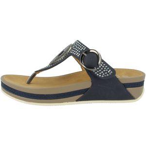 rieker Damen Zehentrenner Blau Schuhe, Größe:37
