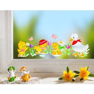 GKA wunderschönes Fensterbild Entchen Ente Krokusse Schmetterlinge Kinder Fensterbilder Dekoration Fenster wiederverwendbar 27 cm