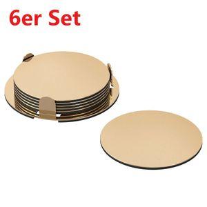 Glasuntersetzer 6er Set Untersetzer mit Halter Ø 8,5cm Tassenuntersetzer Gold