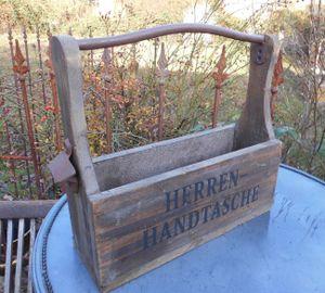 Herrenhandtasche Bierkasten Flaschenträger Weinregal m. Öffner Holz