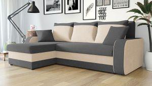 Mirjan24 Ecksofa Kris, Stilvoll Eckcouch mit Bettkasten und Schlaffunktion, L-Form Couch, Schlafsofa (Mikrofaza 0027 + Mikrofaza 0031)