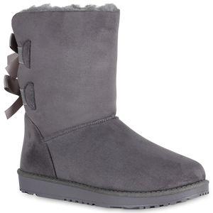 Mytrendshoe Damen Schlupfstiefel Gefütterte Stiefel Winter Schuhe Schleifen 819255, Farbe: Grau, Größe: 38