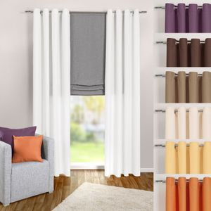 heimtexland ® Ösenschal Blickdicht aber Lichtdurchlässig Gardine Dekoschal Uni Ösen Vorhang Typ117 Weiß