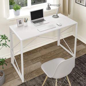 Faltbar Computertisch Tisch Schreibtisch für Homeoffice Arbeitszimmer  PC Laptop Computertisch Tisch Klappbar Weiß
