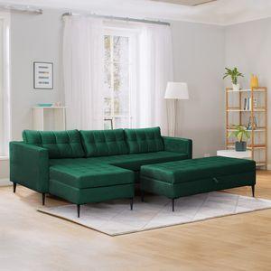 Selsey Ecksofa KOPENHAGA - Sofa mit Schlaffunktion, Hocker, schwarzen Metallbeinen und Stoffbezug in Grün, 220 cm breit
