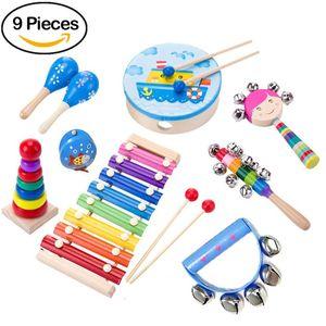 9 Stück Musikinstrumente Musical Instruments Set, Spielzeug von Holz Percussion Schlagzeug Schlagwerk Rhythmus Band Werkzeuge für Kinder und Baby