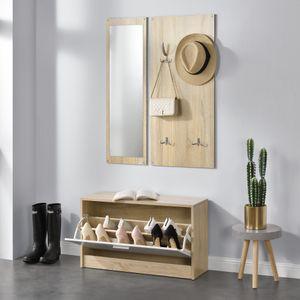 [en.casa]® Garderobenset Kompaktgarderobe mit Schuhschrank Spiegel Paneel Ablage Schuhkipper Set