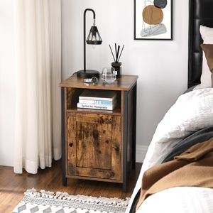 VASAGLE Nachtschrank, Beistelltisch mit Ablage, offenes Fach, Metallgestell, Industrie-Design, 40 x 40 x 60 cm, für Schlafzimmer, Wohnzimmer, vintagebraun-schwarz LET065B01