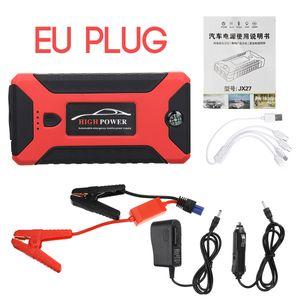 99800mAh 600A Auto Starthilfe Tragbares Startgerät Booster Power Bank Light 4USB Red B-EU Plug 99800mah