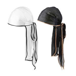 2x Seidenbandana Mütze Hip Hop Durag Kopftuch Long Tie Down Tail Hat