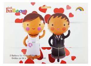 2 Folienballon Just Married Brautpaar Figurenballon 43 cm ungefüllt Luftbefüllung