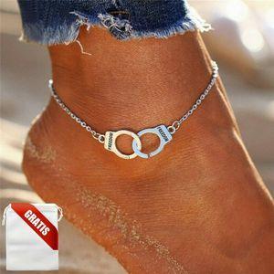 Fußkettchen Damen Handschellen Fessel Silber Fußkette Fusskette Schmuck Geschenk