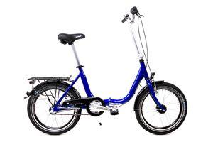20 Zoll Alu Klapp Rad Falt Fahrrad Folding Bike Shimano 3 Gang Nabendynamo blau metallic RH 41cm