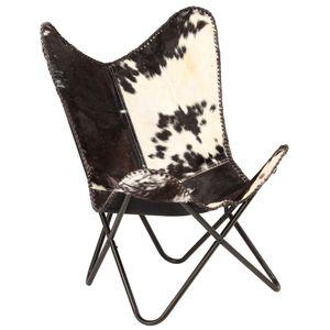 vidaXL Butterfly-Sessel Schwarz und Weiß Echtes Ziegenleder
