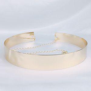 Dame Metall Taille Gürtel Bund Spiegel 3,5 cm Breite Platte Metallic Shiny Chic Farbe Gold