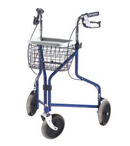 FabaCare Rollator Premium 3-Rad-Rollator, Gehhilfe blau, Korb, Tablett, Feststellbremsen, Höhe verstellbar,Wohnungsrollator mit 3 Rädern, bis 110 kg