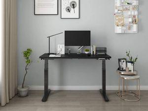 SANODESK Höhenverstellbarer Schreibtisch Elektrisch höhenverstellbares Tischgestell, 3-Fach-Teleskop mit der Tischplatte. Mit Memory-Steuerung und Softstart/-Stop (Schwarz)
