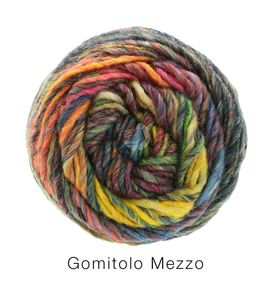 Lana Grossa - Gomitolo Mezzo - Fb. 124 gelb/hellorange/graugrün/terracotta/dunkel-/hellgrau/camel 50 g
