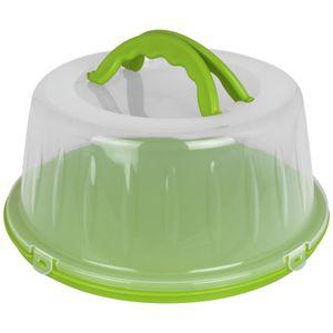Kuchenhaube 33x15cm Grün Tortenbehälter rund Kunststoff Tortenbox Kuchenbehälter Tortenglocke Transportbehälter Kuchen Torten Box