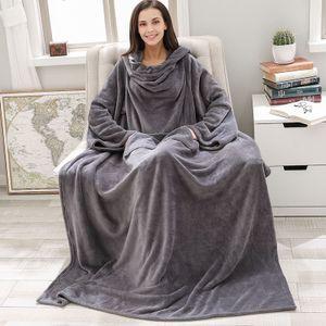 Decke Kuscheldecke mit Ärmeln und Fußtasche 180 x 120cm grau  Tagesdecke Ärmeldecke