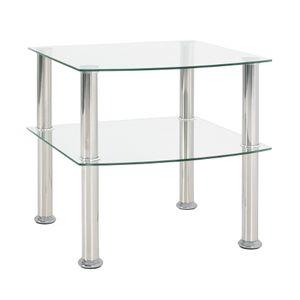 Haku Beistelltisch - Edelstahl/Klarglas - Maße: 45 cm x 45 cm x 44 cm; 15208