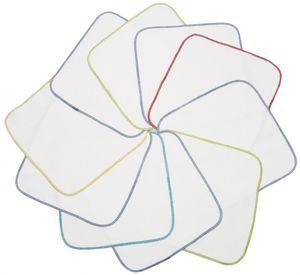 10er Set Waschlappen, Baumwolle, 25x25 cm, weiß mit farbiger Naht