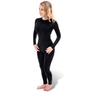 Black Snake® Damen Funktionsunterwäsche Seamless Thermo Unterwäsche Set Unterhemd + Unterhose - S/M - Black