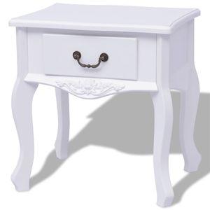 【Neu】Nachttische Nachttisch Weiß MDF Gesamtgröße:43 x 33 x 45,5 cm BEST SELLER-Möbel-Tische-Ziertische-Beistelltische im Landhaus-Stil