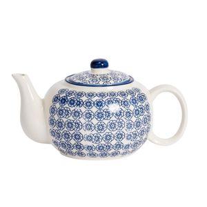 Nicola Spring Hand Printed Teekanne - Japanische Art Porzellan-Tee-Topf mit Deckel - Navy - 820ml