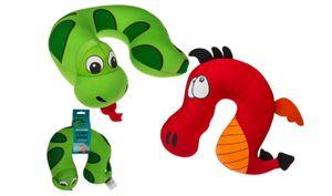 Nackenkissen Nackenhörnchen Autokissen Reisekissen für Kinder Drache oder Schlange, Farbe:Rot