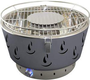 Grill Tischgrill Grau, Holzkohlegrill mit Aktivbelüftung,Einstellbare Temperatur