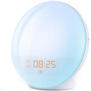 Hikeren LED Wake Up Lichtwecker, mit 20 Helligkeitseinstellungen & 7 natürlichen Sounds & FM Radio & Snooze Funktion Nachtlicht