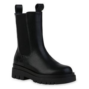VAN HILL Damen Plateau Boots Stiefeletten Blockabsatz Prints Profil-Sohle Schuhe 837784, Farbe: Schwarz Muster, Größe: 39