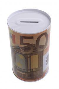 Johntoy Metall-Sparschwein mit Euro 50 Euro oranger Druck