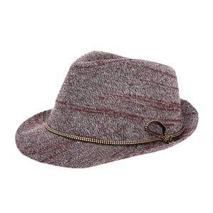 Mode Männer Frauen Unisex Winter Wollmütze Trilby Fedora Panama Krempe Weinrot 29x24x13cm