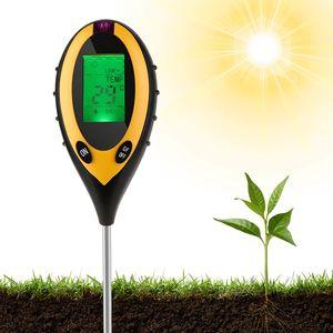 4-in-1 Bodentester, Feuchtigkeitsmessgerät Pflanzen, PH Wert Messgerät Boden, Temperatur PH Lichtintensität Bodenfeuchte PH Große LCD Anzeige für Garten, Bauernhof, Pflanzenerde, Rasen