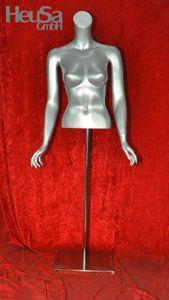 Torso weiblich silber kopflos Frauentorso Schaufensterfigur Schaufensterpuppe Mannequin