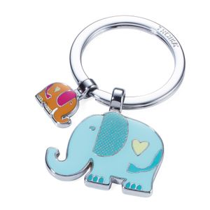 TROIKA Schlüsselanhänger RÜSSELBANDE mit 2 Anhängern großer + kleiner Elephant