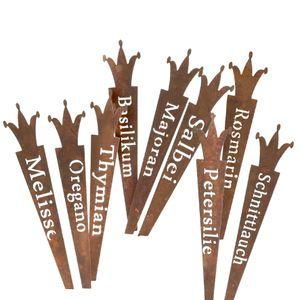 9er Set Kräuterstecker mit Krone 22cm Stecker für Kräuter Garten Naturrost