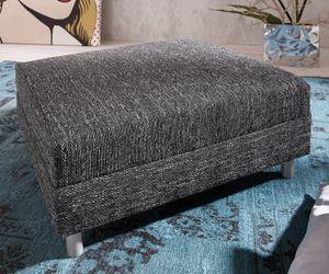 DELIFE Sofa-Hocker Clovis Schwarz Modul B98 x T83 Strukturstoff Sitzhocker