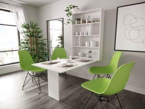 Mirjan24 Wandtisch Abi, Stilvoll Esszimmertisch, Moderne Essgruppe, Esszimmer (Farbe: Weiß)