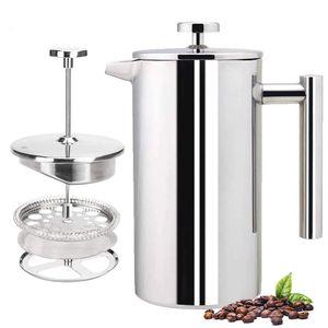 Press Kaffeebereiter, 304 Edelstahl, isolierte Kaffeepresse mit 2 extra Sieben, 1 Liter, Silber