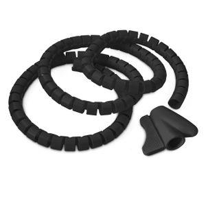 relaxdays Kabelschlauch Kabelhülle schwarz 1,5 m