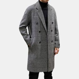 Mittlerer und langer Tausend-Vogel-Muster-Wollmantel der Männer Modischer karierter Mantel Größe:L,Farbe:Weiß